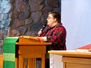 Sr. Nancy proclaims the Word at Mass