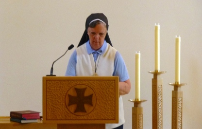 Sr. Bernadette prepares the chapel for Mass