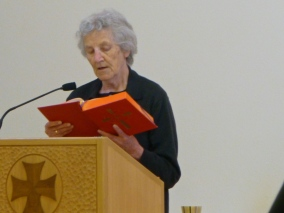 Sr. Carol proclaims the Word