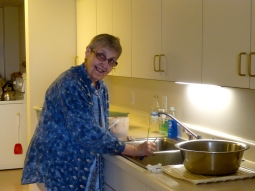 Sr. Marilyn preparing rhubarb from the monastery gardens