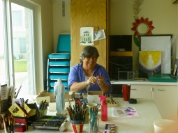 Novice Barbara making art in the Creative Space at Mother of God Monastery