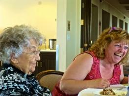 Sr, Amanda and Gina, monastery Chef, laugh and recall good memories
