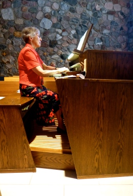 Sr. Agatha plays the organ for Mass at Annunciation Monastery