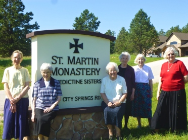 The Benedictine Sisters of Sr. Martin Monastery with their new entrance sign